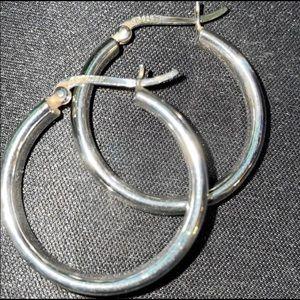 925 Sterling Silver Hallow Hoop Earrings